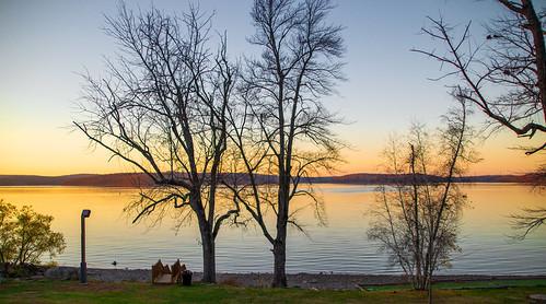 smack53 hawley pennsylvania lake wallenpaupacklaketreeswaterautumnautumn seasonautumnallate falllate autumnfallfall seasonreflectionsnikond3100nikon d3100sunsetpainted sky