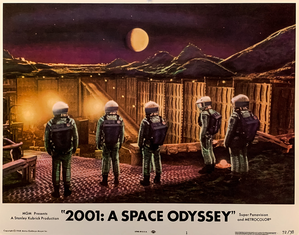 """""""2001 A Space Odyssey"""" (MGM, 1968).  Alien artefact discovered on the Moon.  Original U.S. Lobby Card No. 1 (1972 Re-release)."""