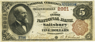 Salisbury, NC 1882 Brown Back $5 face | by Numismatic Bibliomania Society