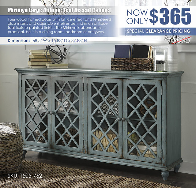Mirimyn Large Antique Teal Accent Cabinet_T505-762_Clearance