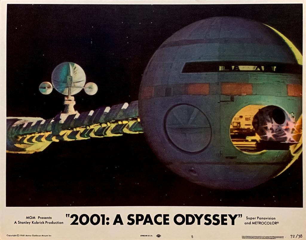 """2001 A Space Odyssey"" (MGM, 1968).  U.S. Spacecraft ""Discovery One"" bound for Jupiter.  Original U.S. Lobby Card No. 5 (1972 Re-release)."