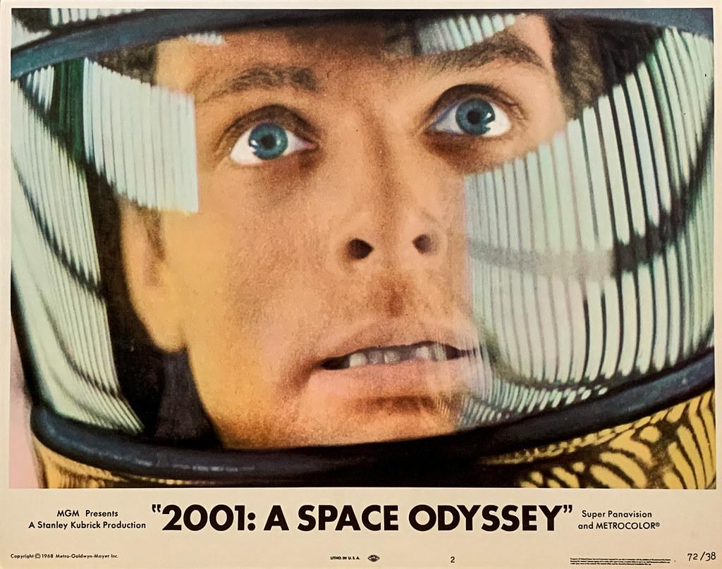 """2001 A Space Odyssey"" (MGM, 1968).  Mission pilot Dr. David Bowman (Keir Dullea) aboard an EVA Pod.  Original U.S. Lobby Card No. 2 (1972 Re-release)."