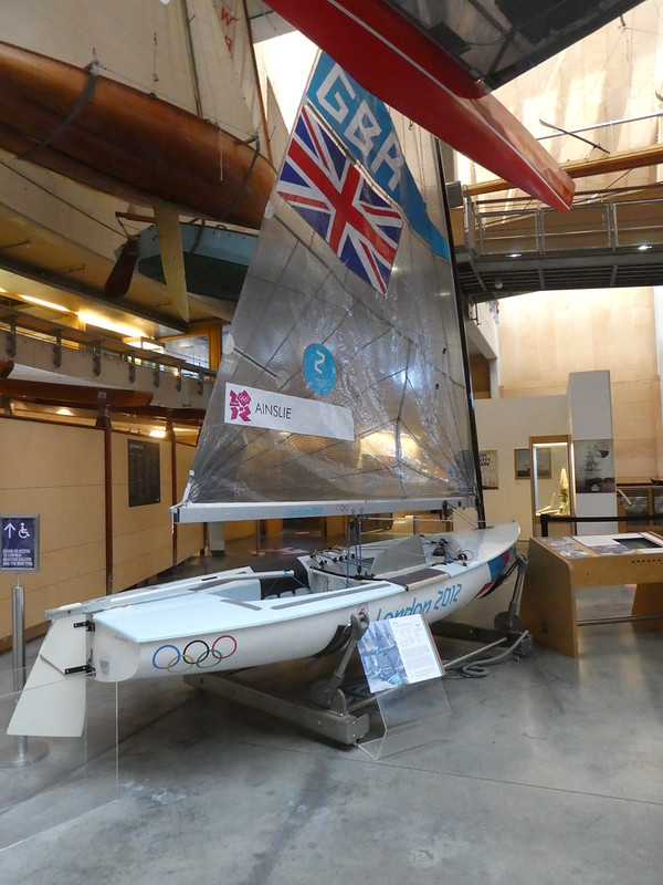 Olympic winning Finn dinghy on display in the National Maritime Museum Cornwall