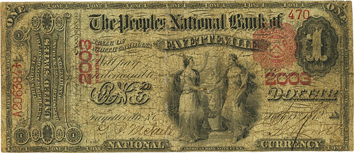 1875 Fayetteville, NC Peoples National Bank $1 face | by Numismatic Bibliomania Society