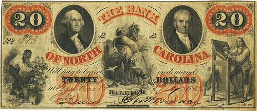 Bank of North Carolina Fayetteville $20 | by Numismatic Bibliomania Society
