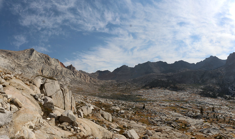 View north into the Nine Lake Basin from the High Sierra Trail as we climb the final switchbacks to Kaweah Gap