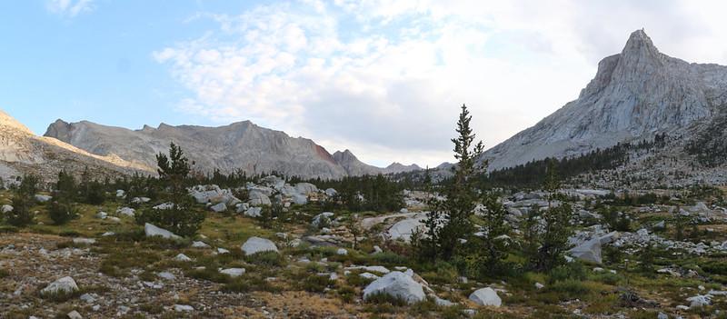 Looking north from Big Arroyo toward the Nine Lake Basin with Kaweah Gap (far left) on the High Sierra Trail