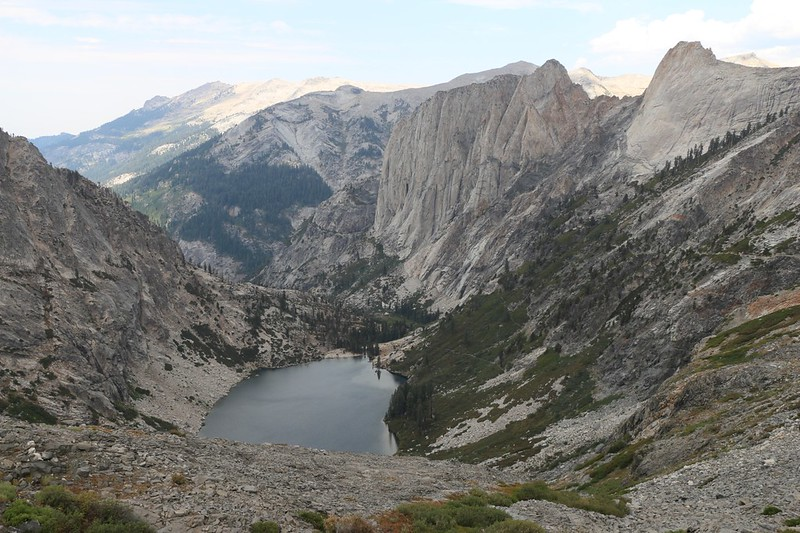 Upper Hamilton Lake, Angel Wings, and Cherubim Dome from the High Sierra Trail, which can be see on the right side