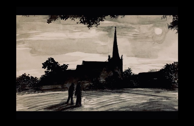 Walking in Moonlight. Black gouache brush work with thin washes by jmsw, on white 300 gsm card.