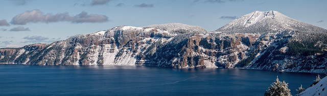 Snow at Crater Lake Pano