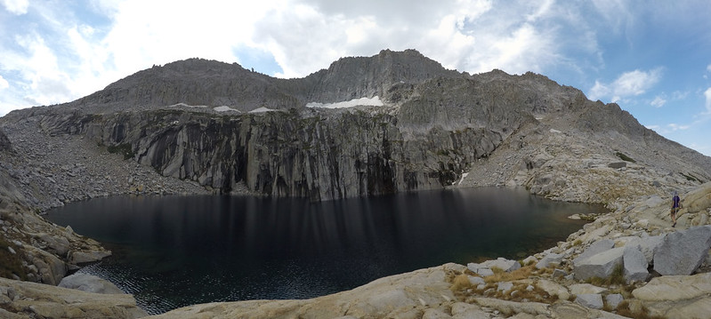 Panorama view of Precipice Lake and Eagle Scout Peak from the High Sierra Trail
