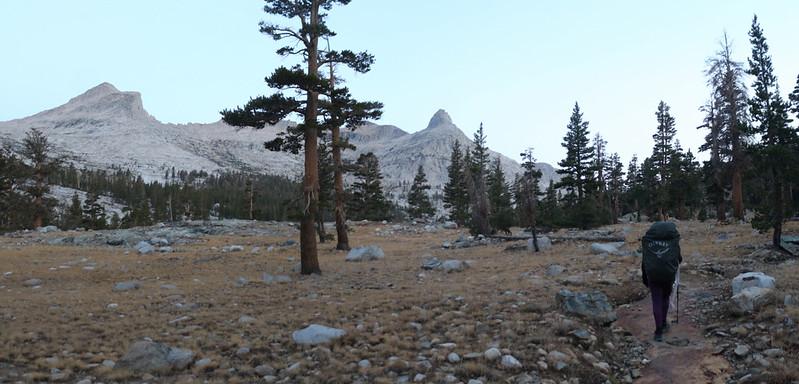 Dawn alpenglow on Tenderfoot Peak and Post 90 Peak as we hike up Big Arroyo on the High Sierra Trail