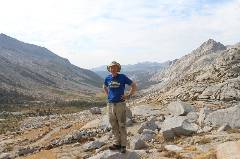 Me, posing at Kaweah Gap on the High Sierra Trail, looking south down Big Arroyo