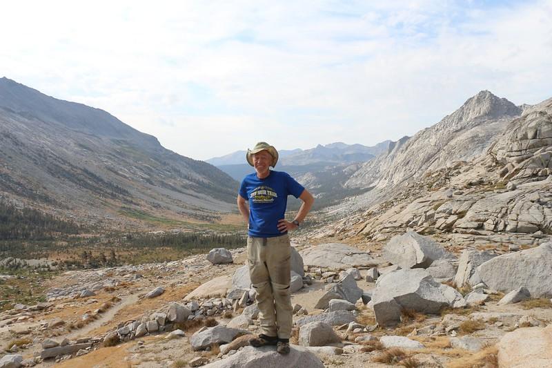 Me, posing at Kaweah Gap on the High Sierra Trail, looking south down Big Arroyo