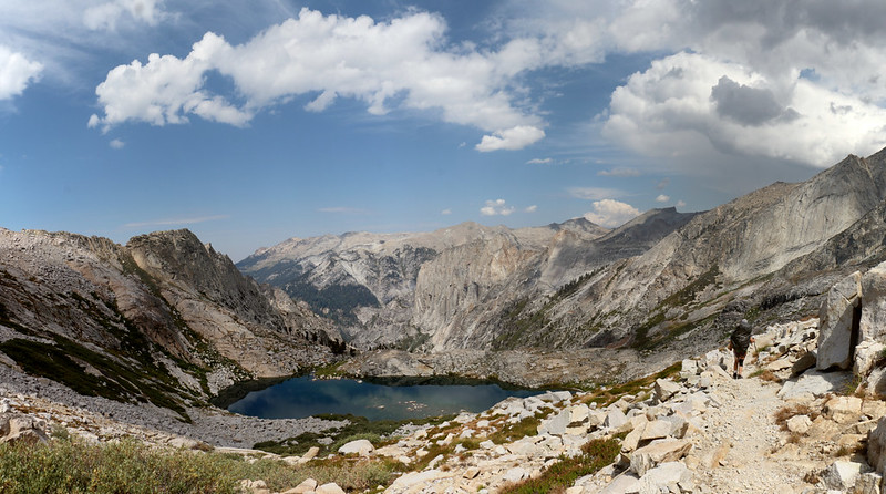 Panorama west from the High Sierra Trail over the small lake below Precipice Lake toward Valhalla
