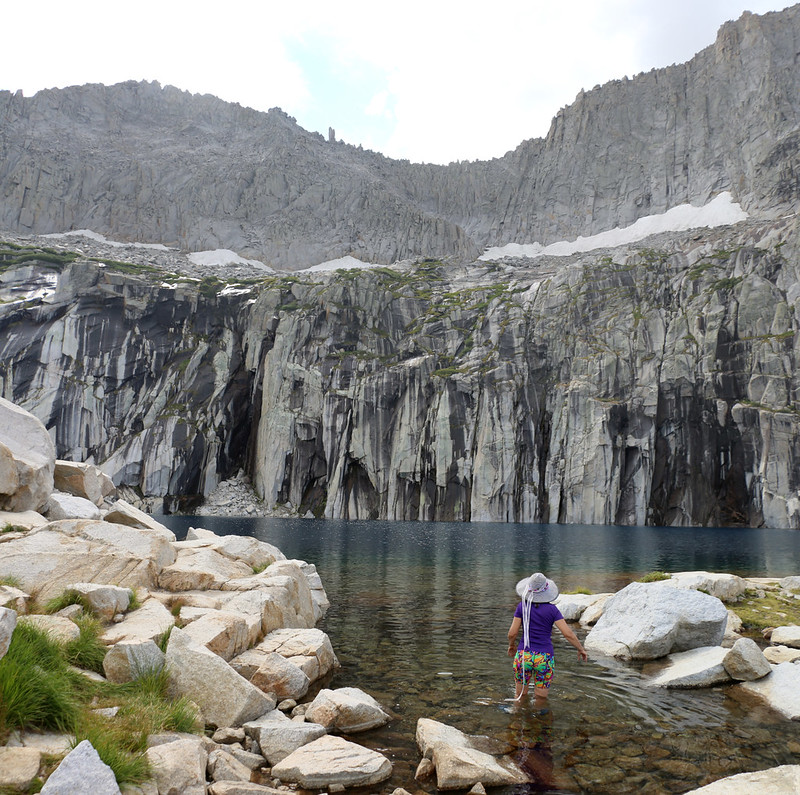 Vicki decided to take a dip in the ultra-clear (and cold!) water of Precipice Lake on the High Sierra Trail