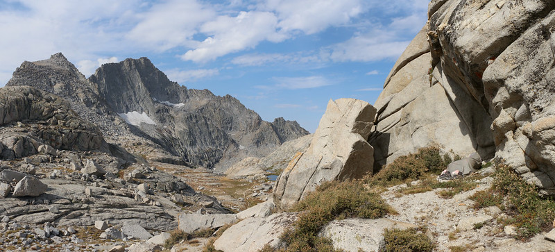 Panorama west at Kaweah Gap, with Eagle Scout Peak (left) and Vicki taking a nap (far right) on the High Sierra Trail