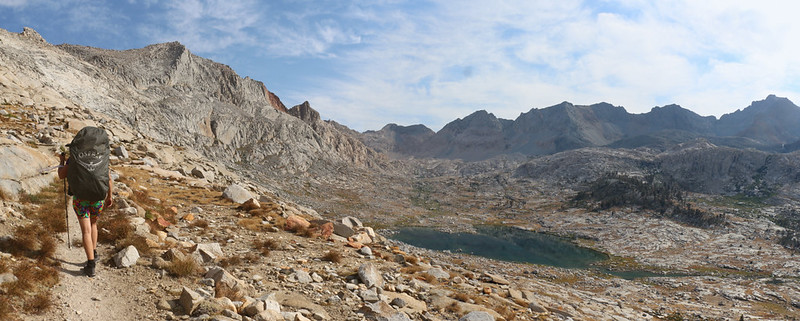 Panorama view north from the High Sierra Trail just below Kaweah Gap - Vicki is almost ready for a nap!