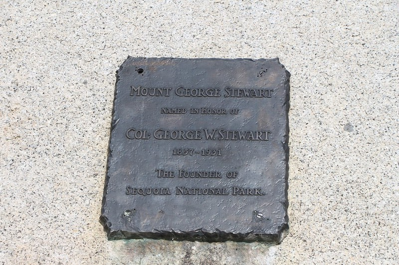 The brass plaque at Kaweah Gap honoring Col. George W. Stewart, who founded Sequoia National Park