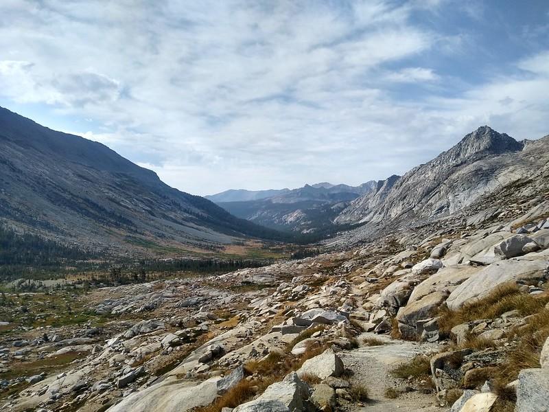 Looking back down Big Arroyo from the High Sierra Trail near Kaweah Gap