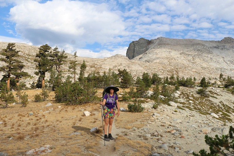 As the High Sierra Trail turns west, we hike in the sunshine, heading directly for Kaweah Gap and Mount Stewart