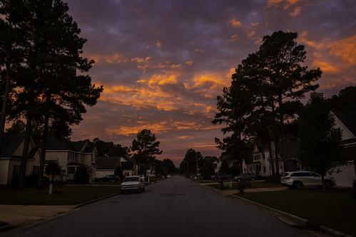 sunrise landscape morning dawn canon 2020 wintervillenc northcarolina fall autumn sky clouds road asphalt street