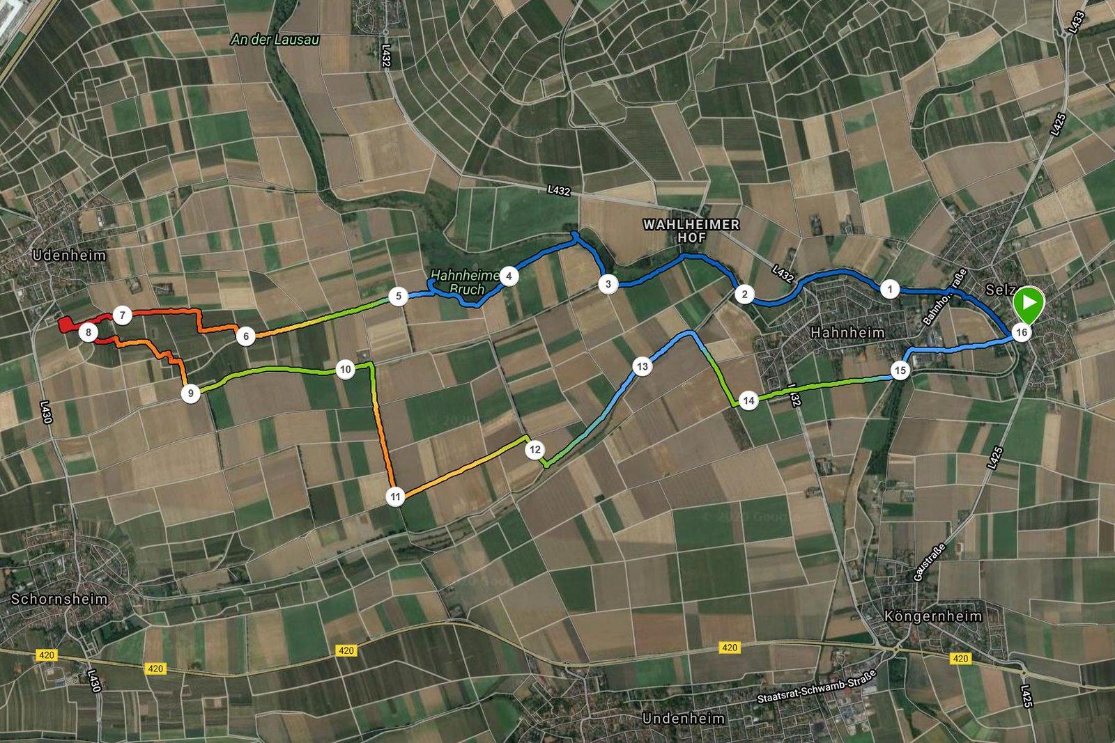 Via Natura, verlängert zur Bergkirche Udenheim (Screenshot Garmin)