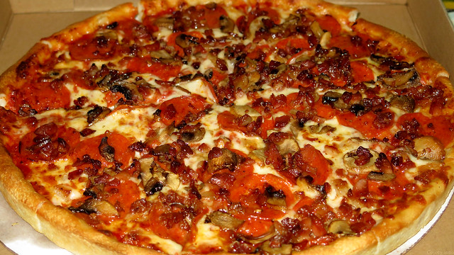Bacon, Mushroom, and Pepperoni Pizza