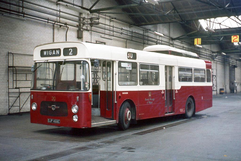 Wigan Corporation , Lancashire . 20 DJP468E . Wigan Corporation Bus garage . Saturday lunchtime 01st-April-1972 .
