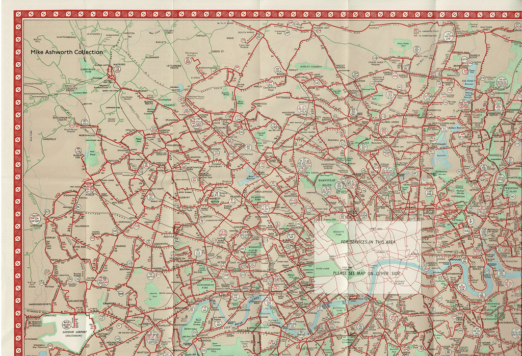London Transport - Central Buses; map and list of routes - North West London area