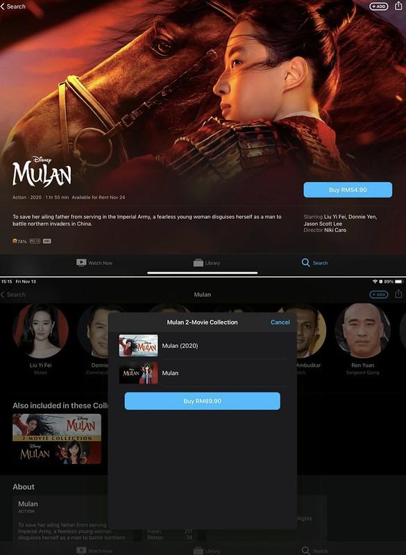 Filem MULAN Kini Boleh Dibeli di Apple TV & Google Play Movie Untuk Pengguna Malaysia