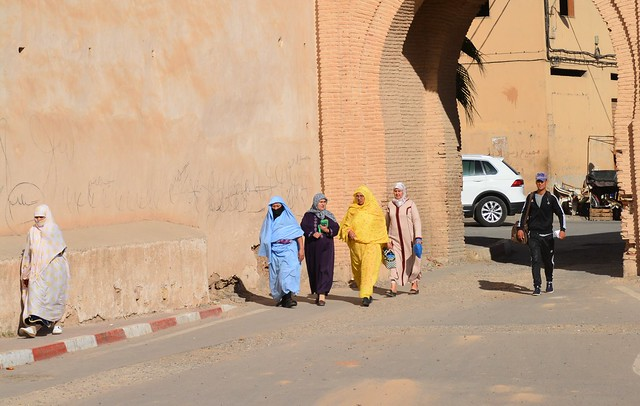 five colorful covered ladies and the gate