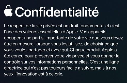 copie d'écran du site Apple qui promet la main sur le coeur que la vie privée ça compte pour eux