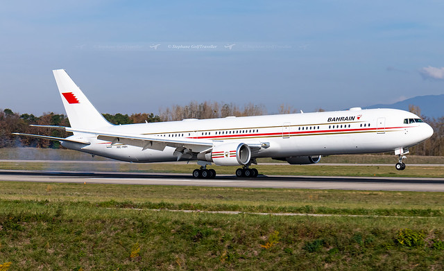 BSL → A9C-HMH Boeing 767-400ER Bahrain Royal Flight