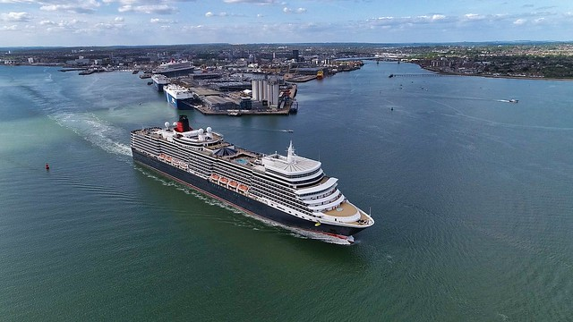Cunard's Queen Elizabeth departing Southampton UK.