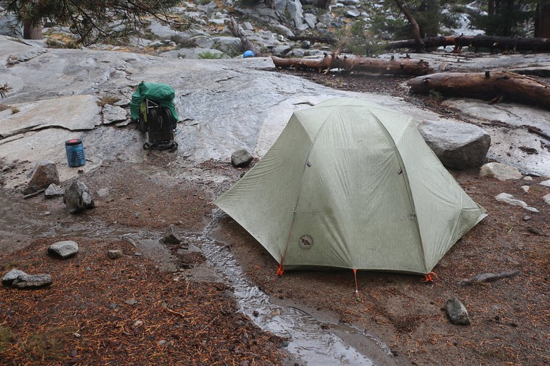 The rain let up just enough so that we were able to set up our tent at Upper Hamilton Lake and avoid the wet spots
