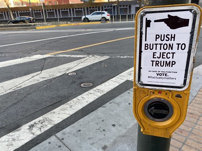 Push Button to Eject Trump - San Francisco crosswalk
