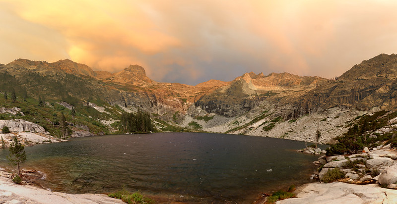 Wide-angle panorama view of Upper Hamilton Lake, Mount Stewart, and Eagle Scout Peak on the High Sierra Trail