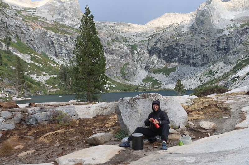 The wind was strong over Upper Hamilton Lake so Vicki set up her kitchen in the shelter of a large boulder