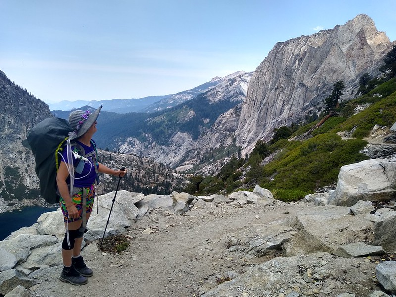 Angel Wings (Valhalla) on the right and Upper Hamilton Lake on the lower left, from the High Sierra Trail