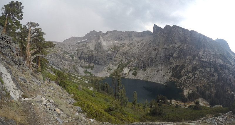 Panorama view of Upper Hamilton Lake and Eagle Scout Peak from the High Sierra Trail