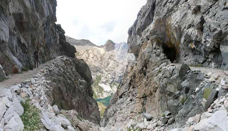 View from the cleft of the stone tunnel section of the High Sierra Trail