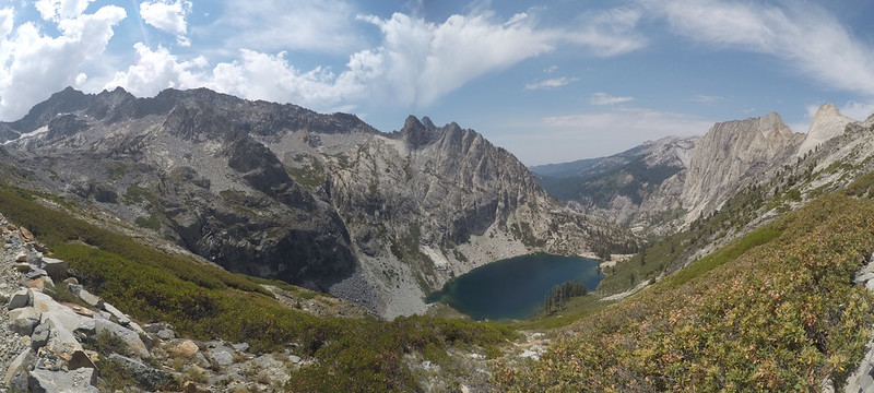 Wide-angle panorama shot of the Hamilton Lakes Basin from the High Sierra Trail, with Valhalla on the far right