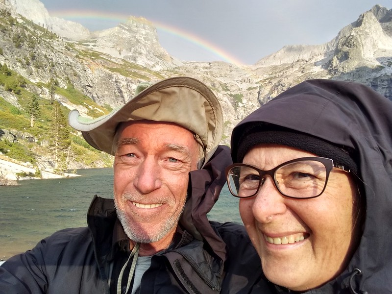 Cell phone camera selfie of the two of us at Upper Hamilton Lake with the rainbow over Mount Stewart