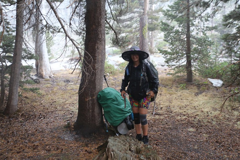 We took shelter from the hailstones under some trees in the campground at Upper Hamilton Lake