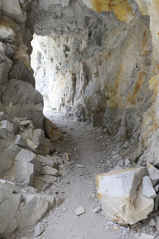 The interior of the tunnel on the High Sierra Trail
