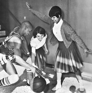 One of the Harlem Globtrotters visit students in 1966 at Notre Dame High School in San Jose, CA