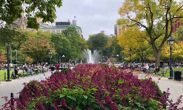 Flowers & Fountains - Washington Square Park, New York City