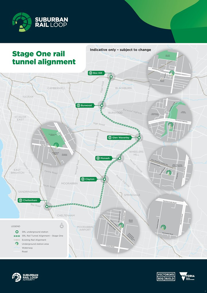 SRL Stage one - tunnel route and stations map