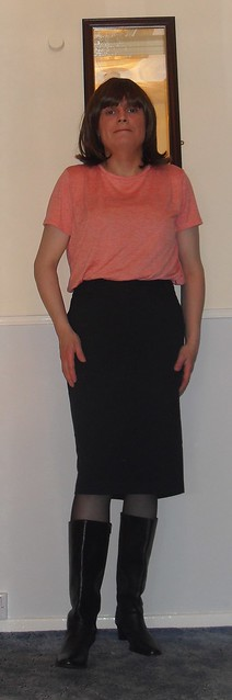 office skirt boots and top